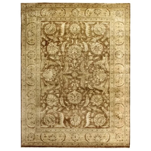 Oushak Hand-Knotted Wool Brown/Yellow Area Rug