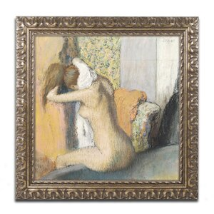 After the Bath Woman Drying Neck by Edgar Degas Framed Painting Print by Trademark Fine Art