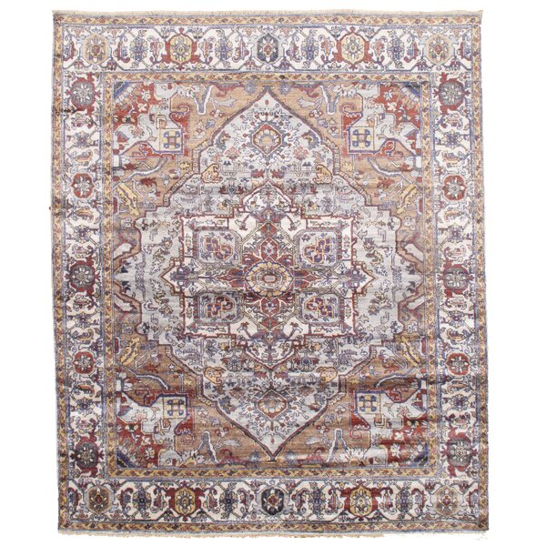 Hand-Knotted Brown/Ice Blue Area Rug by Pasargad NY