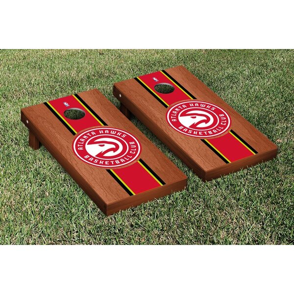 NBA Rosewood Stained Stripe Version 10 Piece Cornhole Game Set by Victory Tailgate