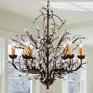 Light oak kitchen chairs wayfair west oak lane crystal and iron 6 light candle style chandelier workwithnaturefo