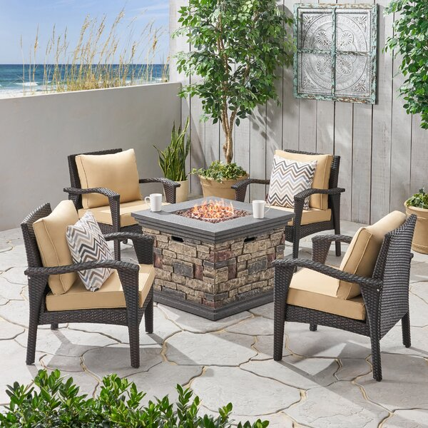 Trujillo Outdoor 5 Piece Rattan Multiple Chair Seating Group With Cushions by Bayou Breeze