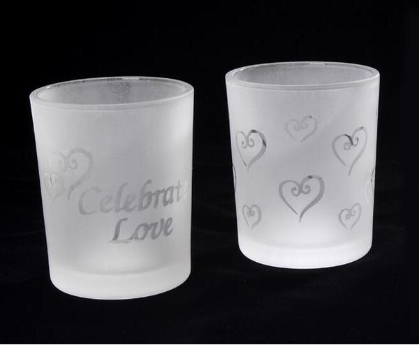 Frosted and Etched Love Theme Glass Votive Holder (Set of 24) by Winston Porter