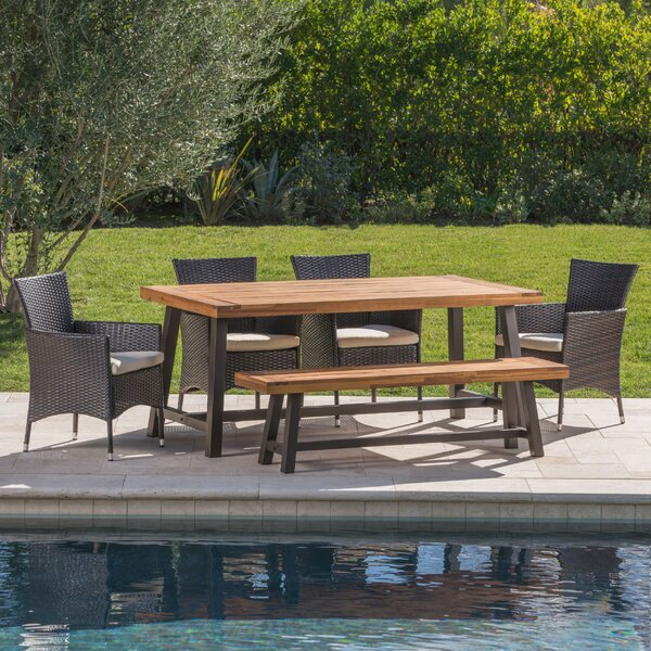 Lebo Outdoor 6 Piece Dining Set with Cushions by Latitude Run