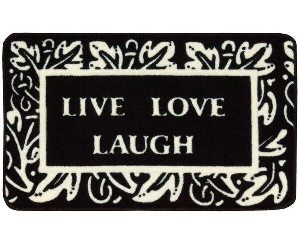 Poquonock Black/White Live, Laugh, Love Area Rug by Charlton Home