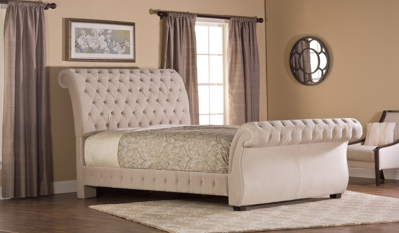 Tufted sleigh bed king - Cyrano Upholstered Sleigh Bed