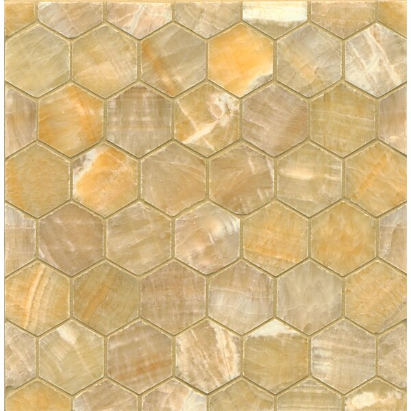 Onyx Hexagon Marble MosaicTile in Sweet Honey by Bedrosians