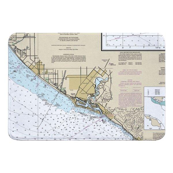 Nautical Chart Huntington Beach, Newport Beach CA Rectangle Memory Foam Non-Slip Bath Rug