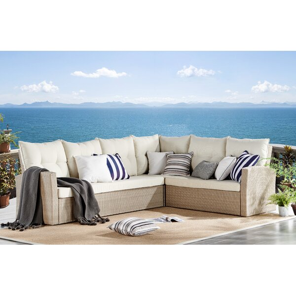Pangkal Pinang 4 Piece Sectional Complete Patio Set with Cushions by Highland Dunes