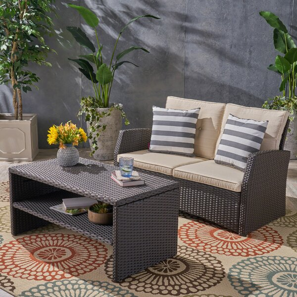 Loganville 2 Piece Rattan Sofa Seating Group with Cushions by Rosecliff Heights