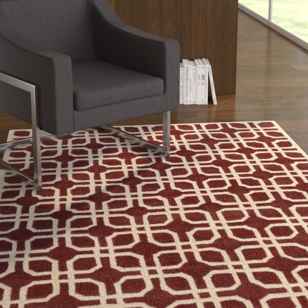 Murrah Red/Ivory Area Rug by Ebern Designs