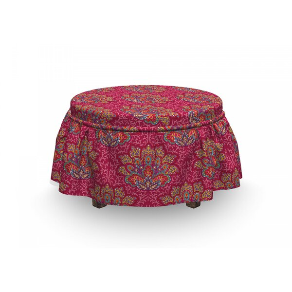 Lotus South Paisleys 2 Piece Box Cushion Ottoman Slipcover Set By East Urban Home