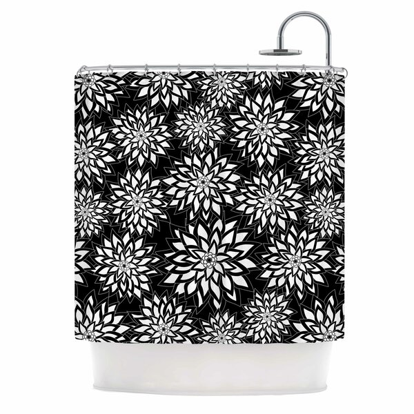 Julia Grifol Black and White Garden Shower Curtain by East Urban Home