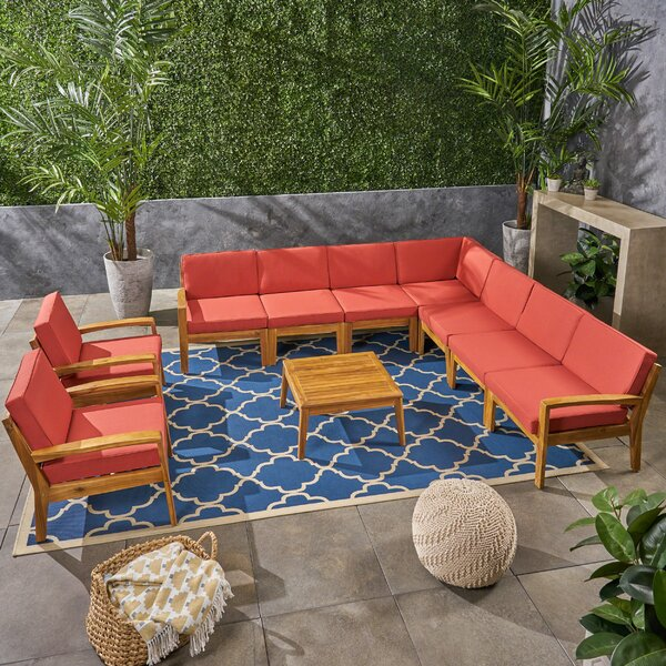 Watson Outdoor 9 Piece Sectional Seating Group with Cushion by Longshore Tides
