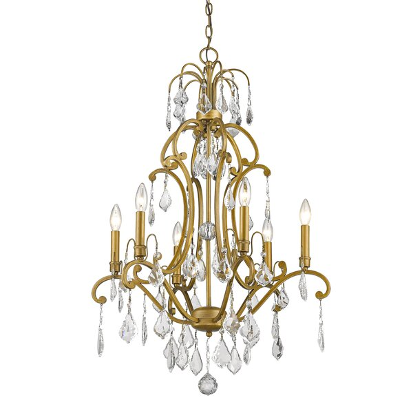 Manorhaven 6 - Light candle Style Empire Chandelier with Crystal Accents by Rosdorf Park Rosdorf Park