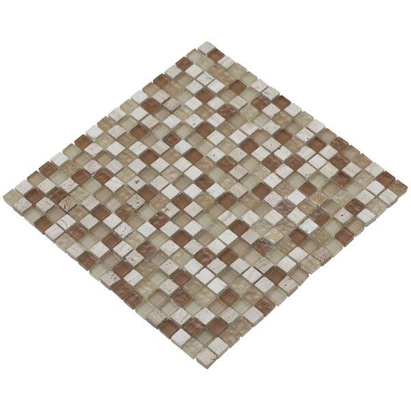 Mesh Pess 12 x 12 Glass/Stone Mosaic Tile in Beige/Brown by Mirrella