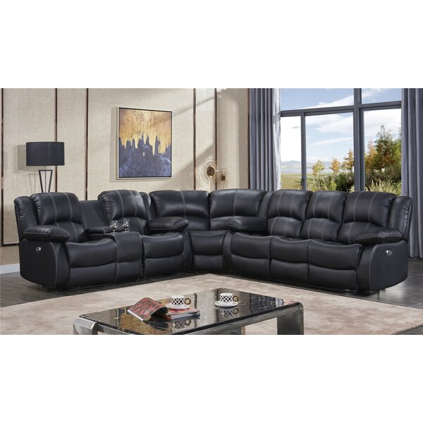 Kilmer Leather Reversible Reclining Sectional by Red Barrel Studio