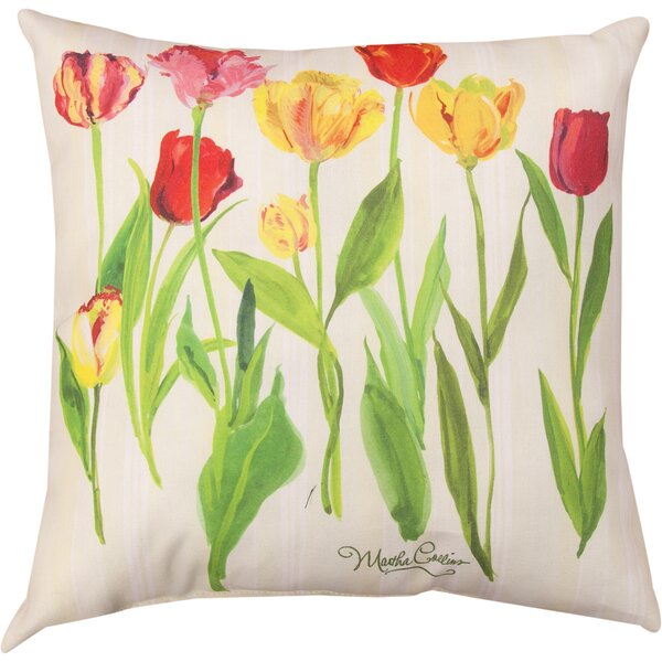 Tulips Knife Edge Throw Pillow by Manual Woodworkers & Weavers