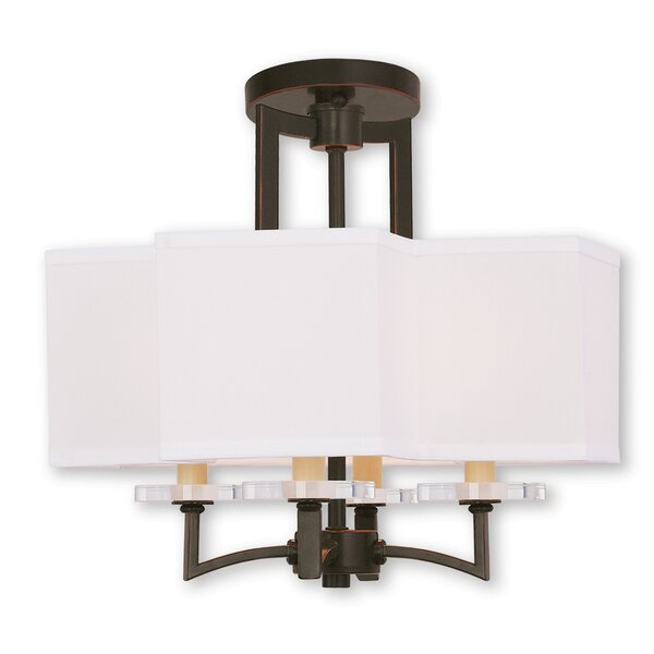 Amenia 4 - Light Unique / Statement Square / Rectangle Chandelier With Crystal Accents By Latitude Run