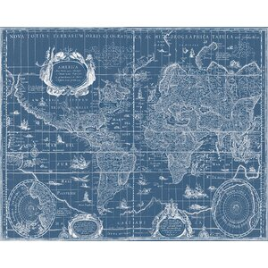 Vintage Blueprint World Map Graphic Art on Canvas by Stupell Industries