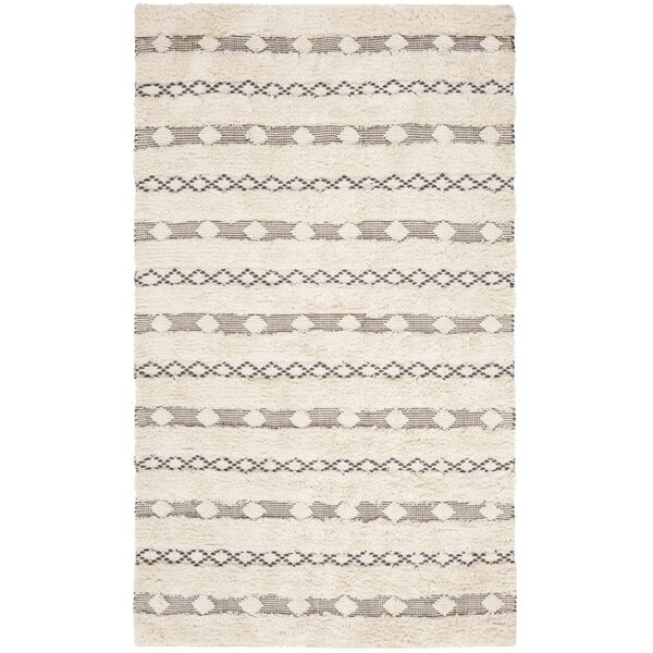 Celia Hand-Woven Wool Ivory/Gray Area Rug by Foundry Select