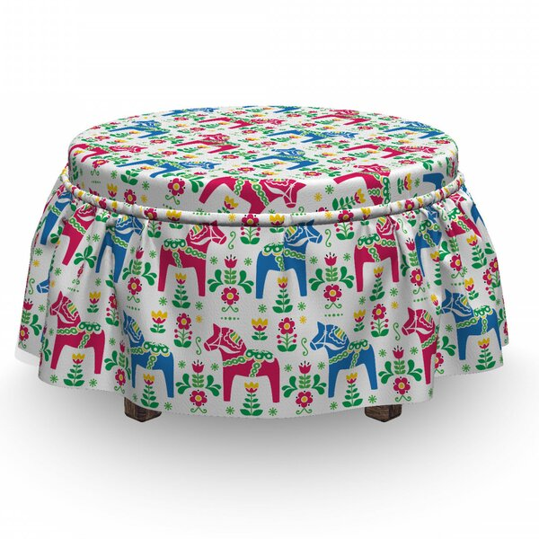 Horses Dalecarlian Motif Floral 2 Piece Box Cushion Ottoman Slipcover Set By East Urban Home