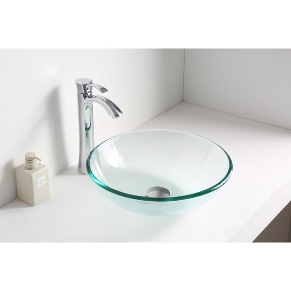 Etude Glass Circular Vessel Bathroom Sink by ANZZI