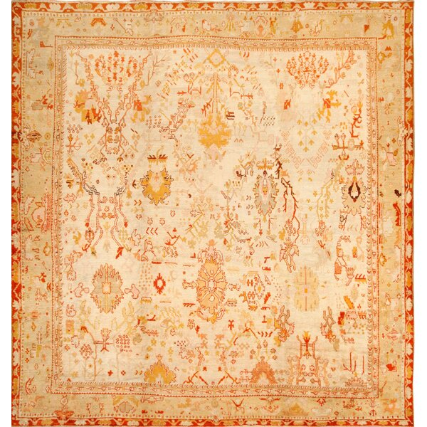 One-of-a-Kind Turkish Hand-Knotted 1900s Cream 13'7 x 15'3 Wool Area Rug