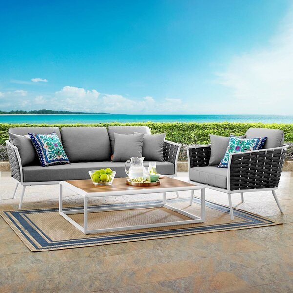 Rossville 3 Piece Sofa Seating Group with Cushions by Ivy Bronx