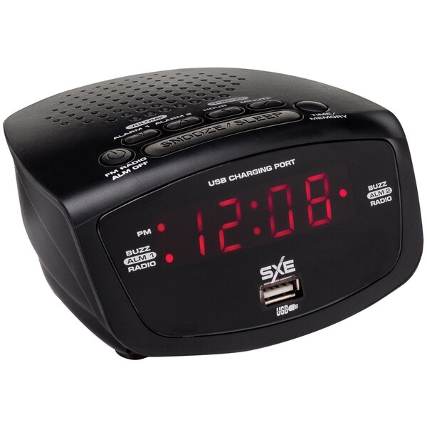 LED Radio With USB Tabletop Clock by SXE