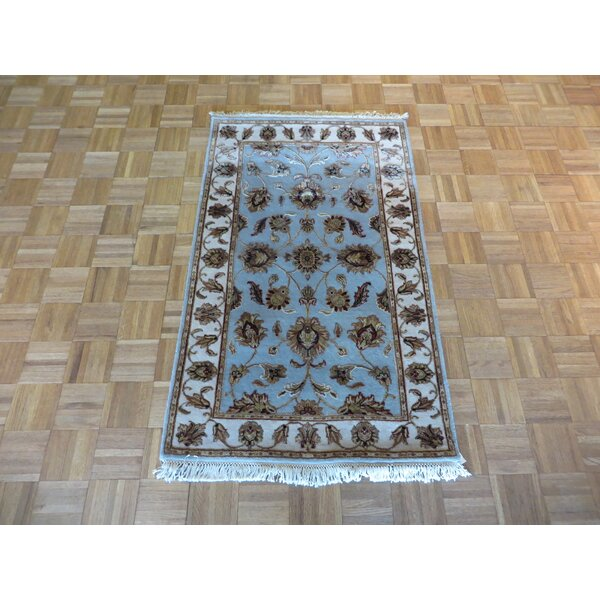 One-of-a-Kind Rhyne Hand-Knotted Wool Light Blue Area Rug by Astoria Grand
