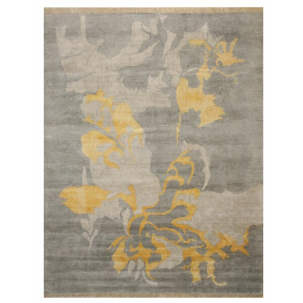 Vachon Hand-Knotted Gray Area Rug by Latitude Run