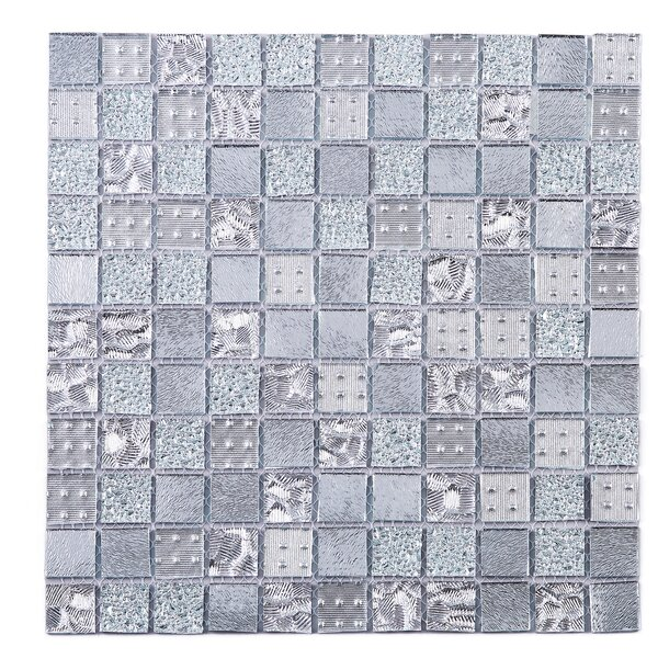 Grid Glass Mosaic Tile in Gray by Multile