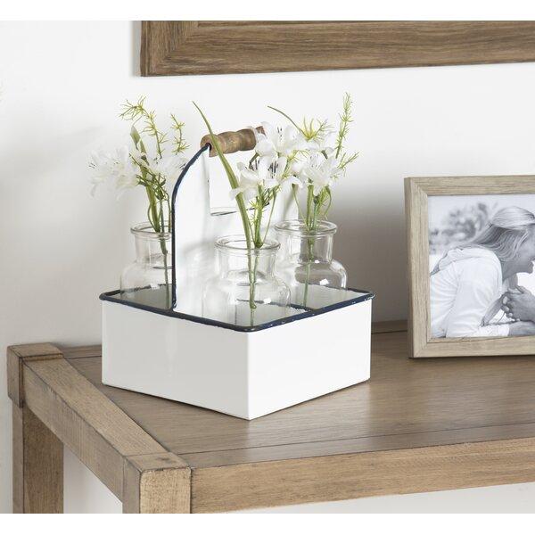 Roisin Farmhouse Metal Caddy 5 Piece Table Vase Set by August Grove