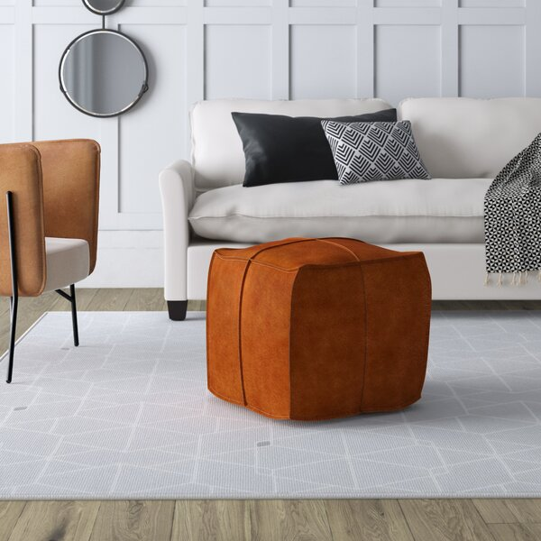 Gurrola Leather Pouf By Mercury Row Herry Up