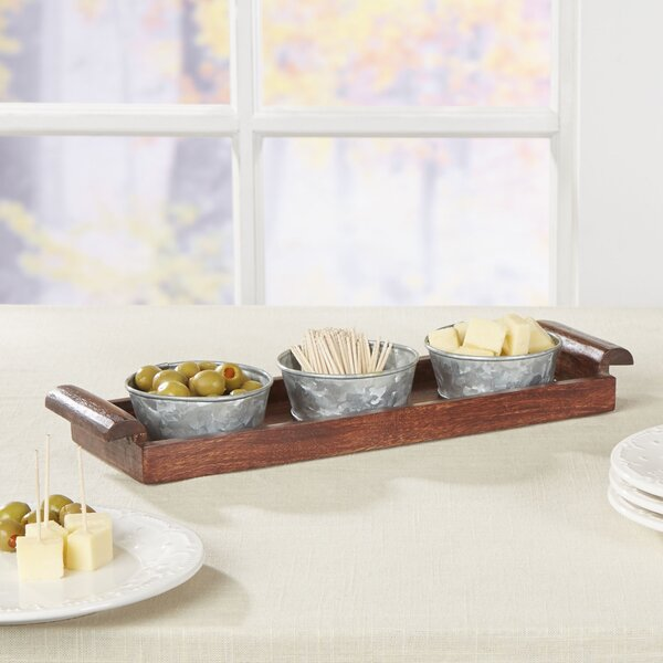 Besson 4-Piece Rosewood and Iron Server Set by Birch Lane™