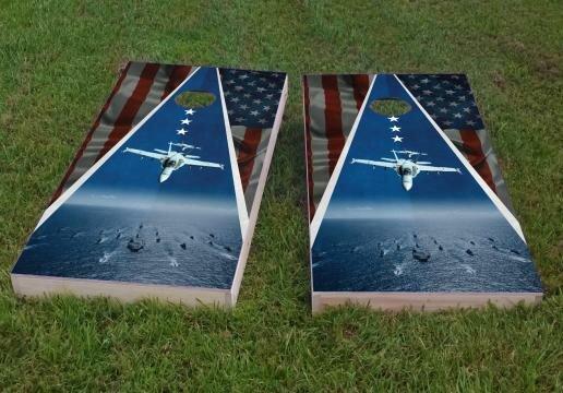 Navy Theme Cornhole Game (Set of 2) by Custom Cornhole Boards