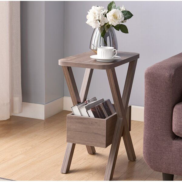 Stratten Cross Legs End Table With Storage By Gracie Oaks