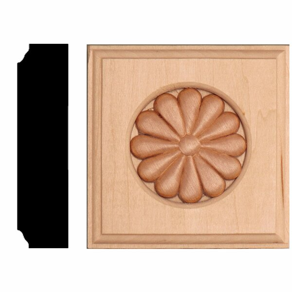 7/8 in. x 3-1/2 in. x 3-1/2 in. Basswood Daisy Rosette Block Moulding by Manor House