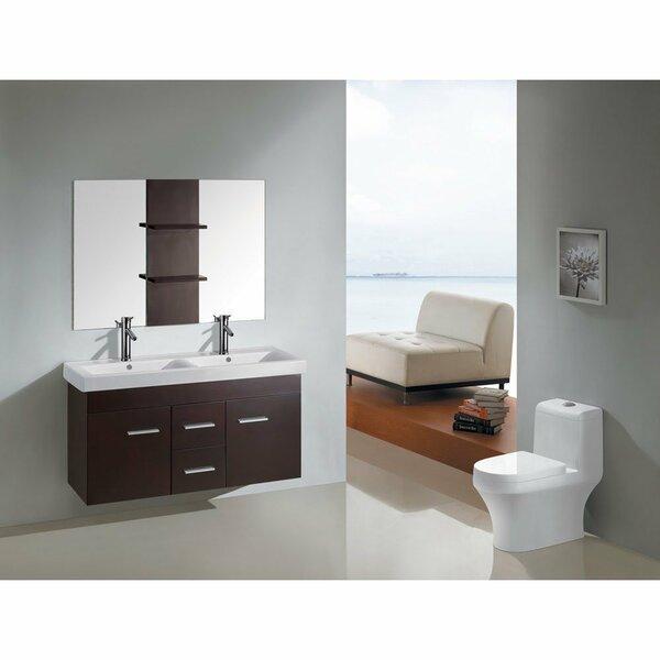 47.3 Double Floating Bathroom Vanity Set with Mirror by Kokols