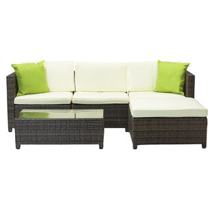 3 Piece Rattan Sectional Set with Cushions