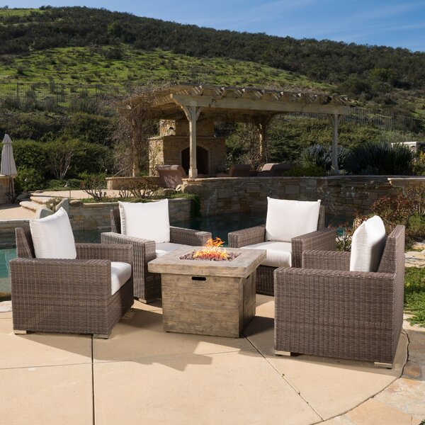 Hodge Gas 5 Piece Sunbrella Conversation Set with Cushions by Bayou Breeze