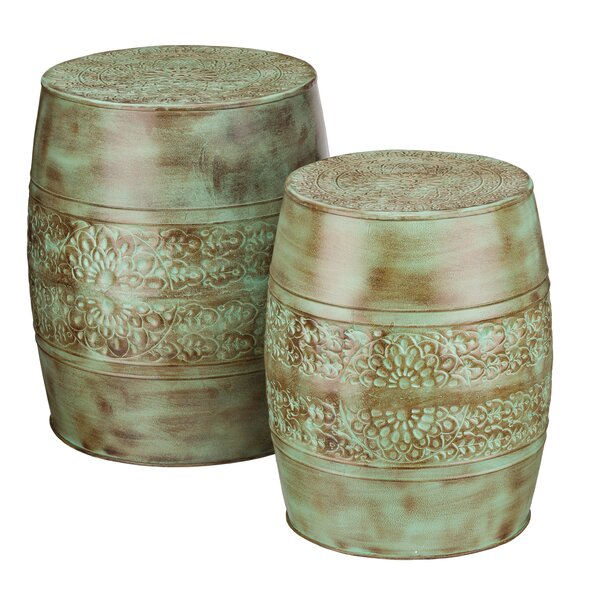 2 Piece Patina Flower Garden Stool Set by Regal Art & Gift