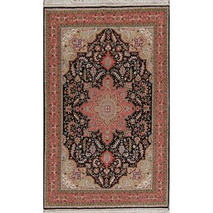 Price Check One-of-a-Kind Richman Tabriz Persian Hand-Knotted 4' 5'' x 7' 1'' Wool Black/Pink/Ivory Area Rug By Isabelline