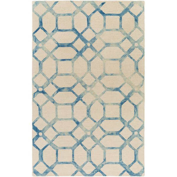 Glenmore Hand-Tufted Teal/Ivory Area Rug by Ivy Bronx