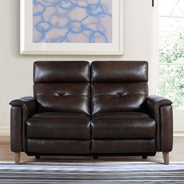 Yoshioka Leather Reclining Loveseat by Red Barrel Studio