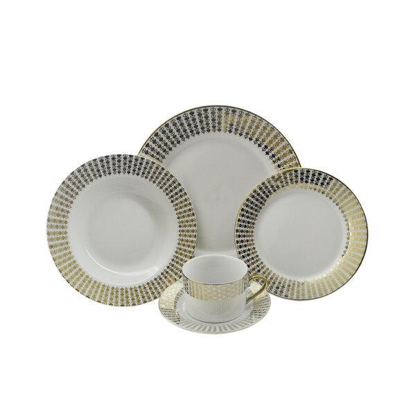 Hearts 40 Piece Dinnerware Set, Service for 8 by Three Star Im/Ex Inc.