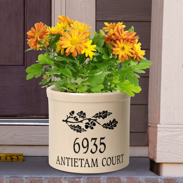 Woodmansee Personalized Oak Branch Ceramic Pot Planter by August Grove
