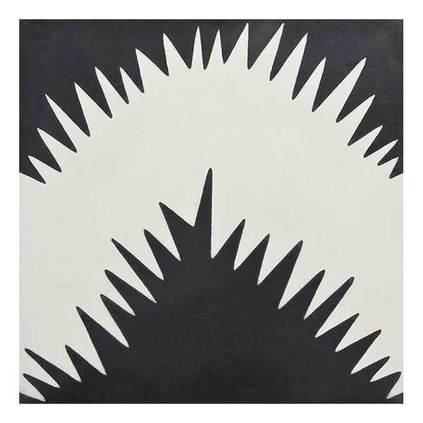 Bettana 8 x 8 Handmade Cement Tile in Black/White by Moroccan Mosaic