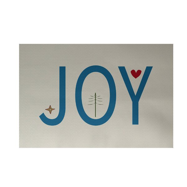 Joy Filled Season Decorative Holiday Word Print Ivory Cream Indoor/Outdoor Area Rug by The Holiday Aisle